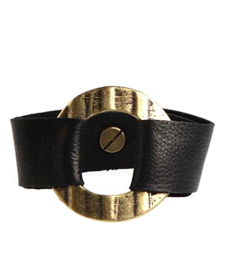 Love this Henri Lou Black & Antique Goldtone Leather Bracelet by Henri Lou on #zulily! #zulilyfinds