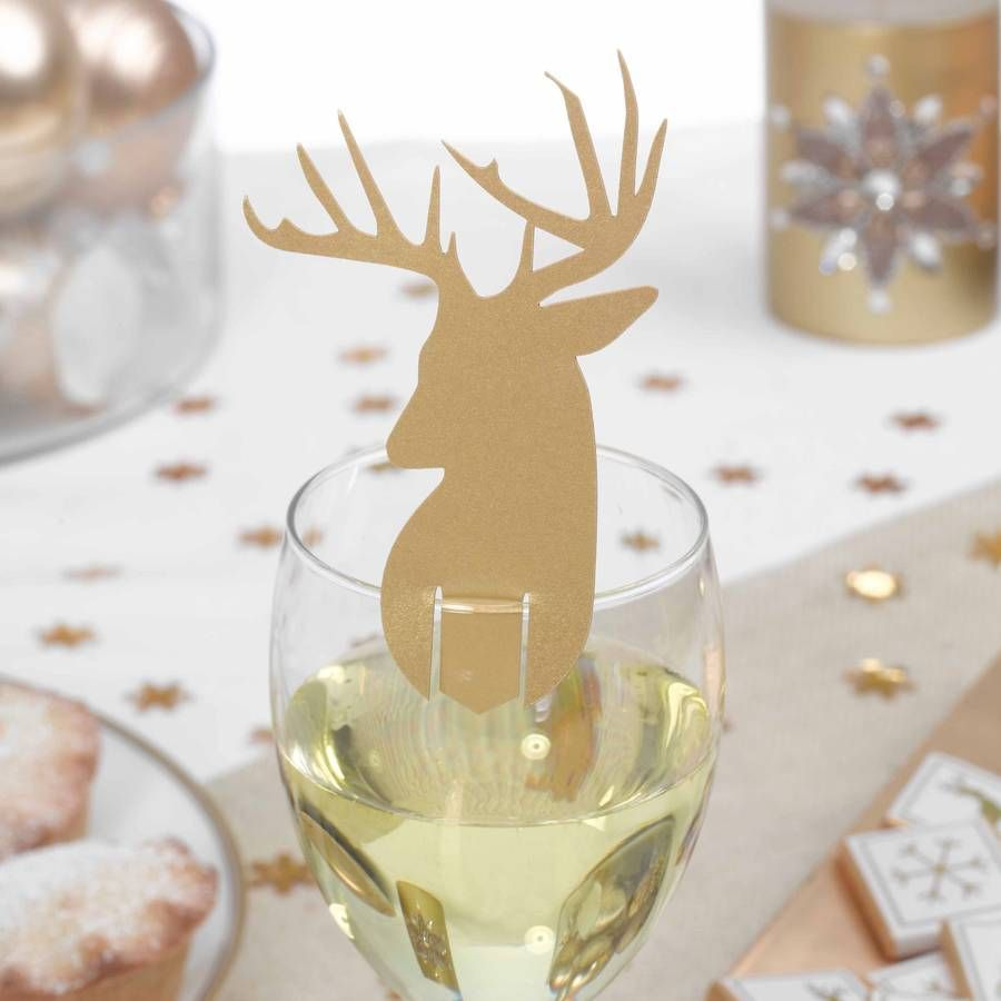Christmas Gold Stag Glass Decorations | Place cards, Decoration and ...