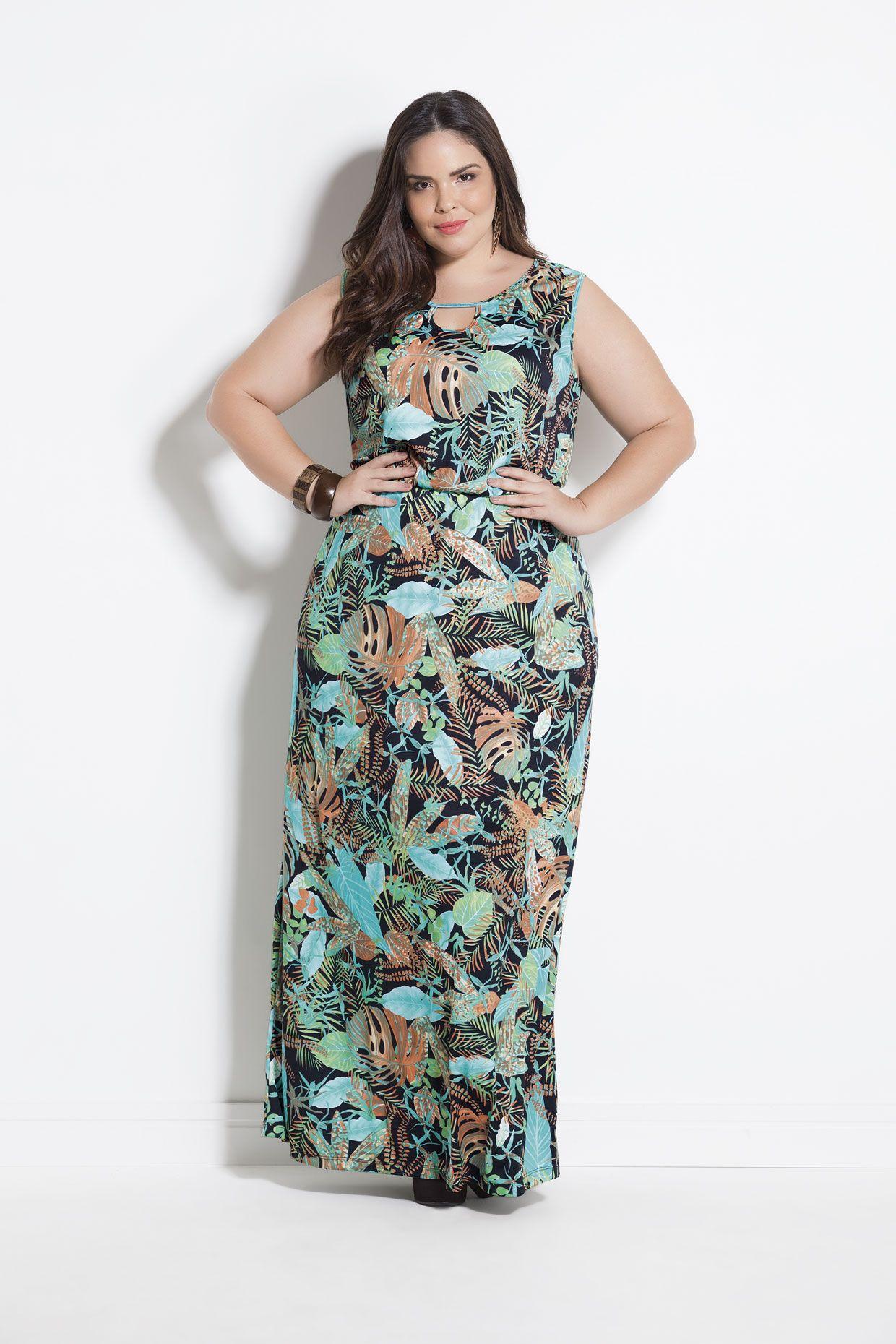 793893fd3 Vestido Longo Plus Size Folhagem Marguerite | COLEÇÃO PRIMAVERA 2017 ...