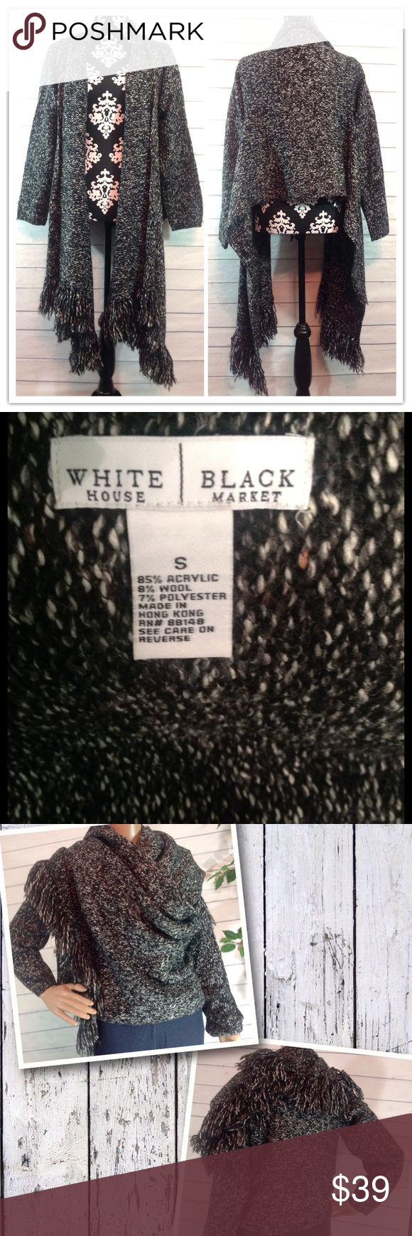 """WHBM  Black Fringe Wrap Cardigan Small White House Black Market chic Hi-Lo cardigan sweater. Front is long fringed scarf style for wrapping or tying. Long sleeves. Back at waist length.  Small.  Bust measures 22"""" across. Armpit to longest fringe 39"""".  Armpit to waist hem 12"""".  Excellent condition.  See pic for fabric content.                                    🔹Please ask all questions before you purchase! I'm happy to help! 🔹Sorry, no trades or holds 🔹Please, no lowball offers 🔹Please…"""