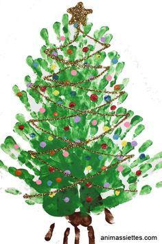 rbol de navidad dibujado con las huellas de las manos Ideas for