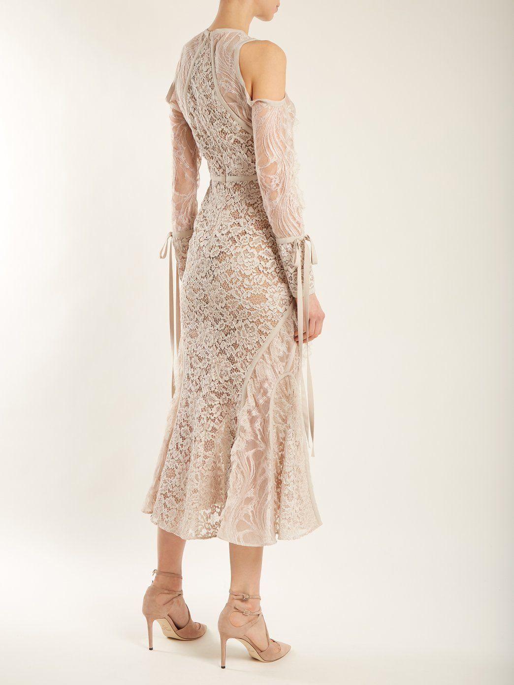 Fluted-hem floral-lace dress Elie Saab LXiE0cN1