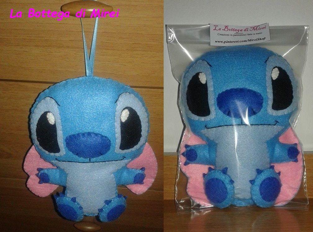 DISPONIBILE - Stitch (Lilo & Stitch) peluches da appendere (18 cm x 15 cm) in pannolenci con imbottitura 100% poliestere. - 8.00 €