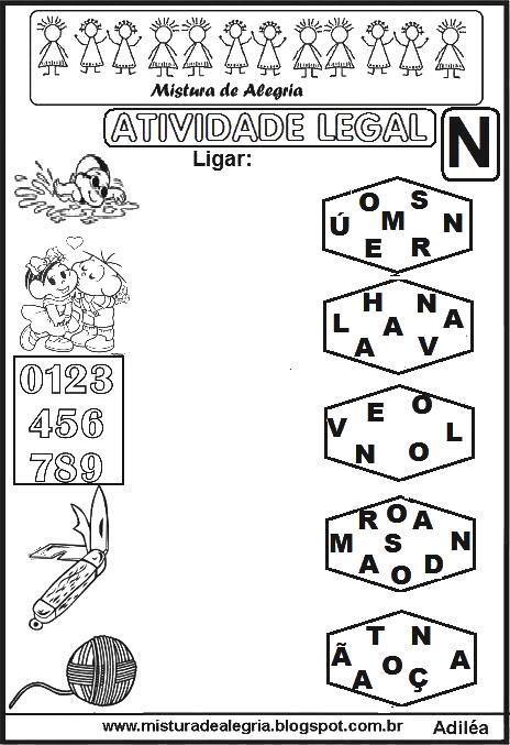 atividade legal ligar letras desenhos alfabetiza c3 a7 c3 a3o n