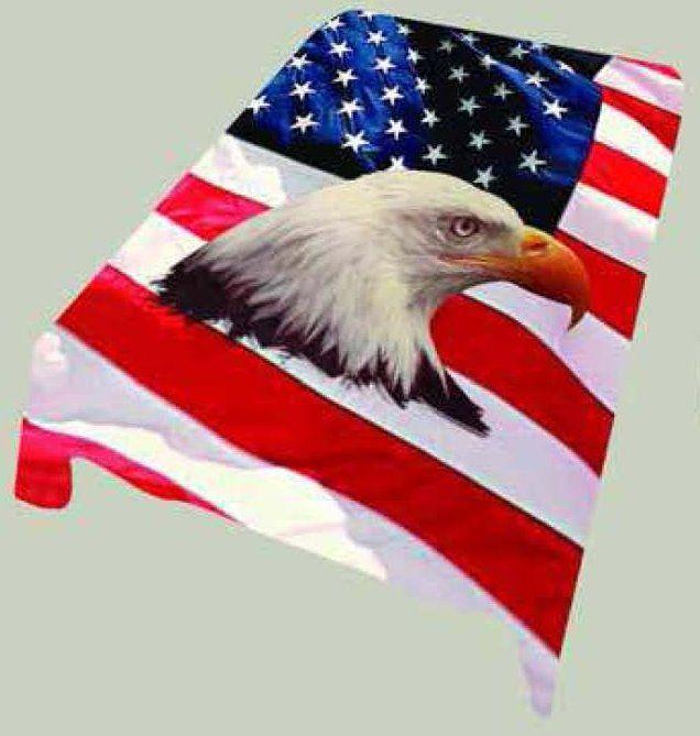 "79/""x 96/"" Queen Patriotic Wolves American Flag Mink Blanket Super Plush Fleece"