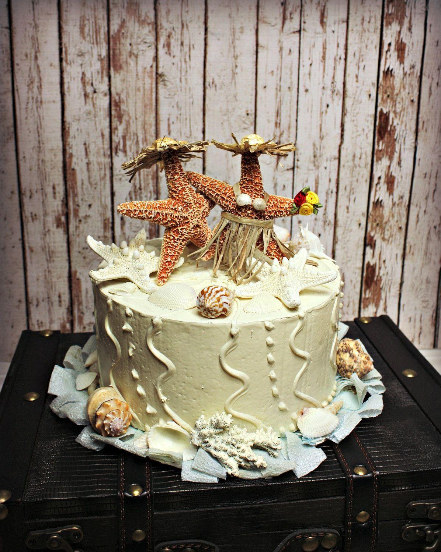 Star Fish Bride and Groom Wedding Cake TopperFormalBeach