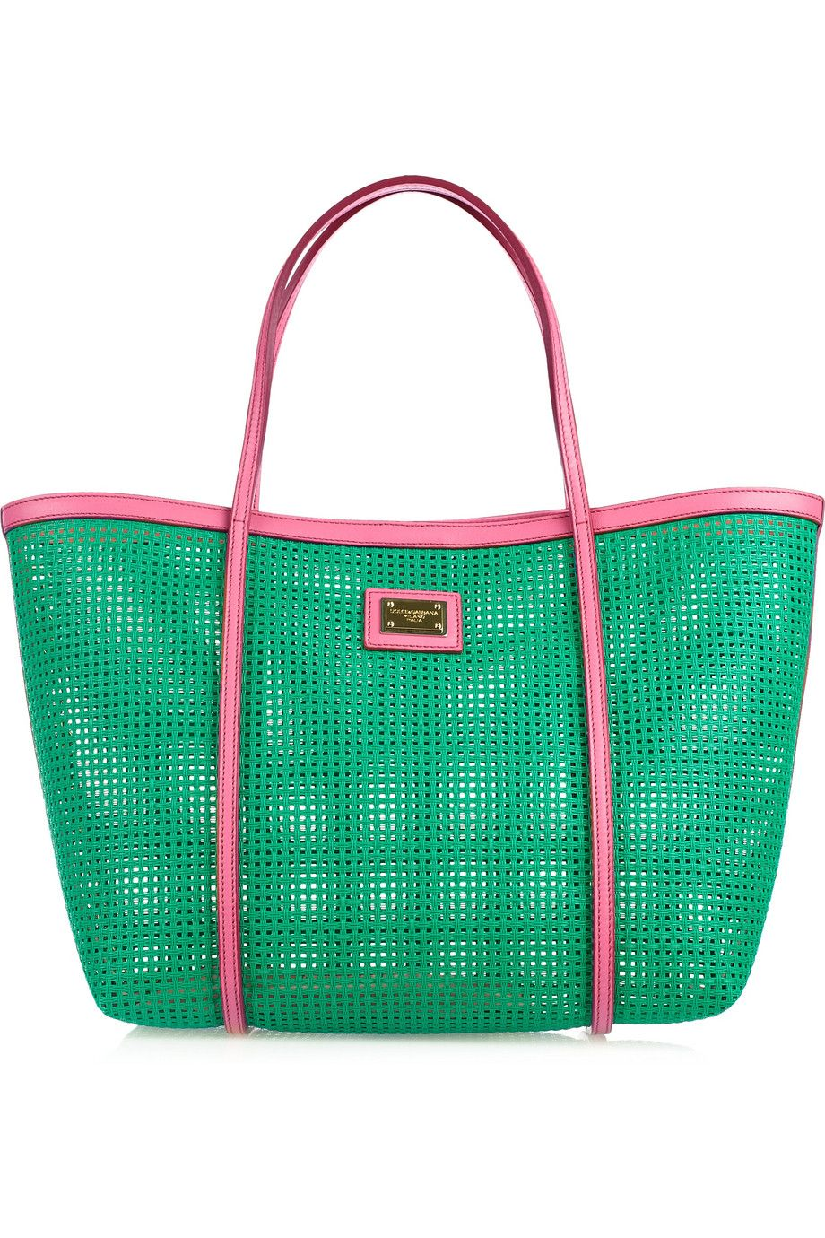 6fb7a2edd9 Would be a GREAT summer bag!! ...Dolce   Gabbana woven tote Leather-trimmed  woven tote