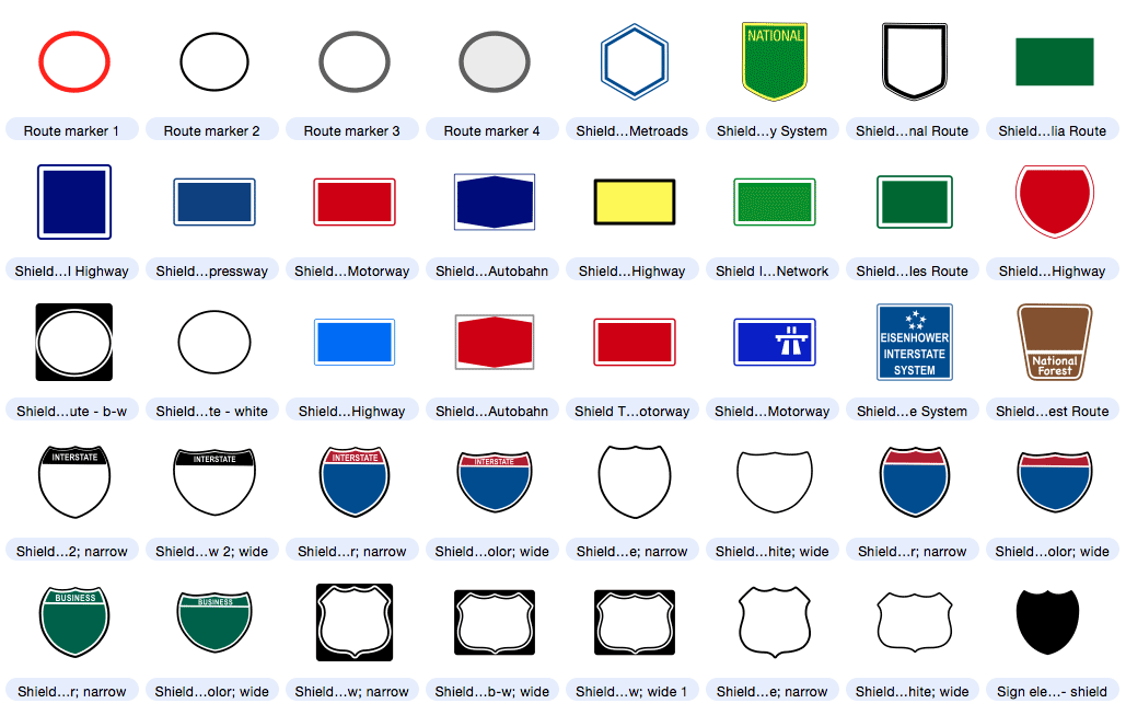 Dozens Of Highway Sign Shield Free Editable Map Symbols