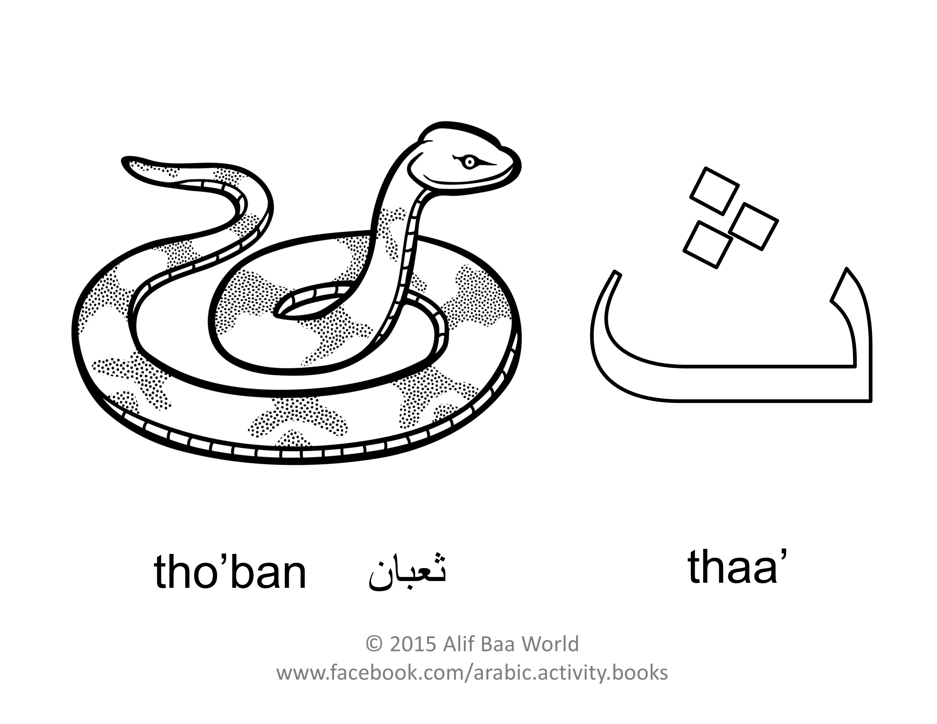 The fourth letter of the Arabic alphabet is ث (Name thaa