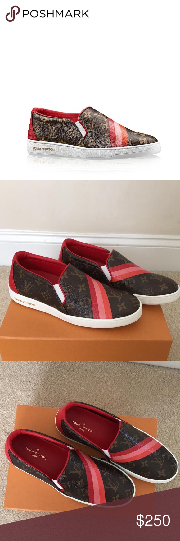 126fbe6d2869 Louis Vuitton Striped Canvas  amp  Leather Slipon Shoe 💖CONDITION New With  Tags This item