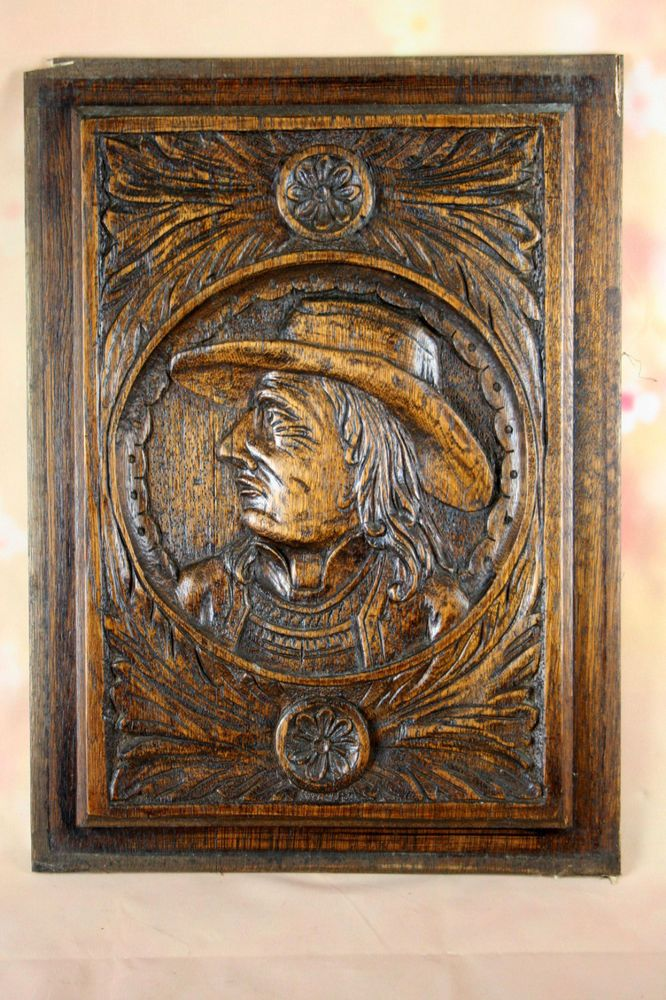 French Antique Breton Wood carved Panel NO1