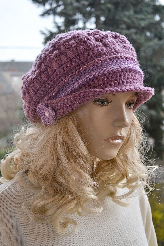 8f6c15e5077 Dirty pink Crocheted beanie Slouchy Hat PEAKED CAP Winter Fashion ...
