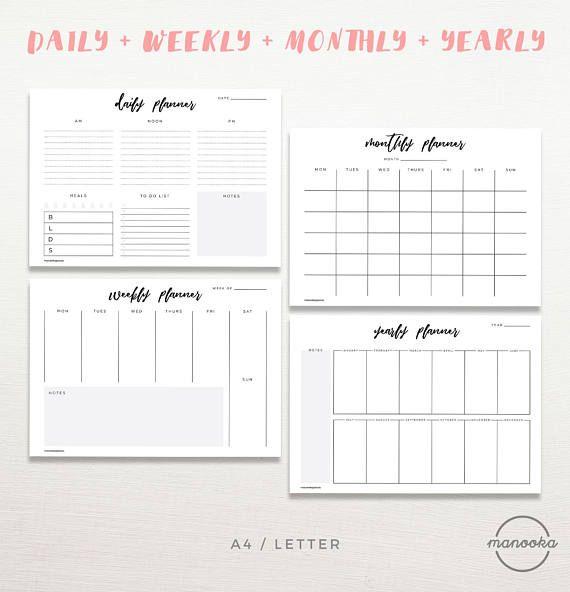 Minimalist Simple Daily Weekly Monthly Yearly Desktop DIY Calendar