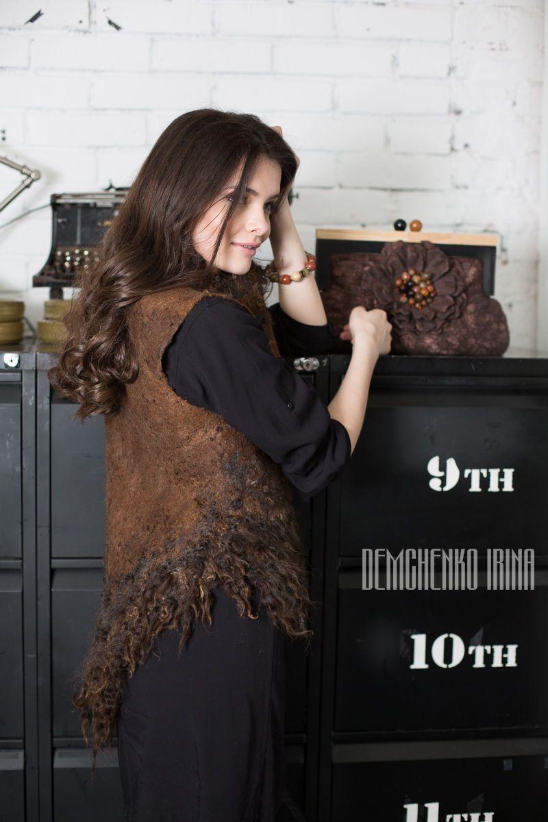 Купить Валяный жилет «Исландия» - коричневый, жилет валяный, авторская работа…