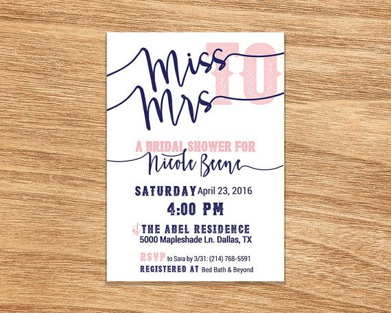 Host a fun bridal shower with this Miss to Mrs. Bridal Shower invitation. Choose from navy or tan! More colors in my shop!  This listing is only for