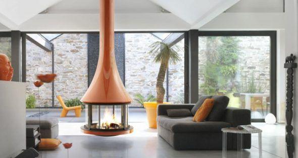Cheminée centrale suspendue à foyer fermé design | Déco Salon ...