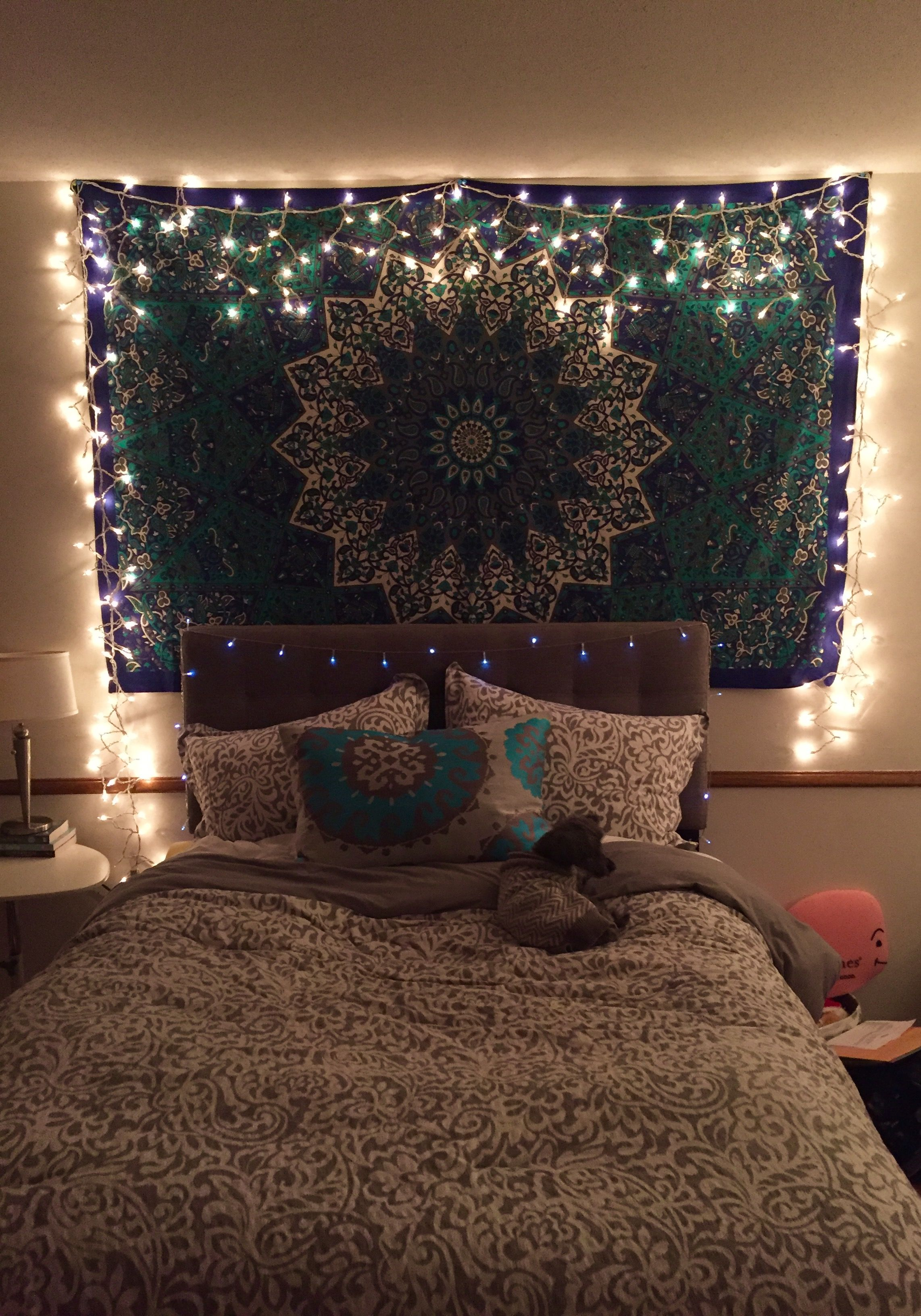 turquoise bohemian bedroom ideas tapestry with icicle lights | Bedroom | Bedroom decor