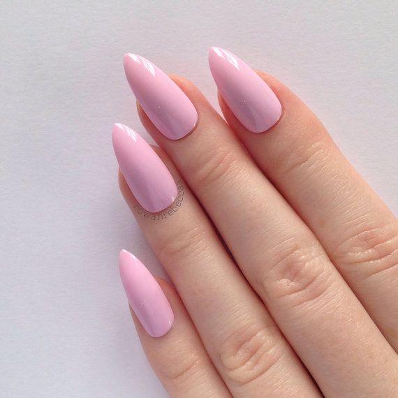 Pastel Pink Stiletto Nails Nail Designs Art Acrylic Pointy Fake