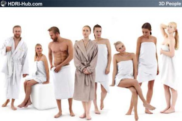 3D People Spa 01 - Collection of 8 high-detailed 3D models of