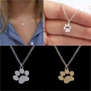 cf9e10854ce8 a mujer collar huella de perro gato animal mascota colgante cadena lindo  joyeria