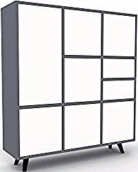 Highboard anthracite – highboard: drawers in white & doors …