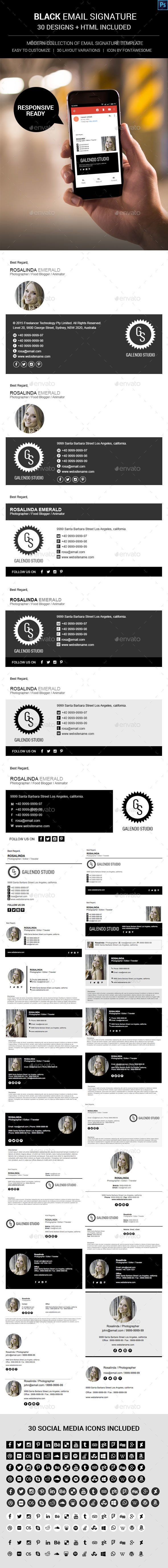 Black Email Signature | Email signatures, Graphics and Email ...