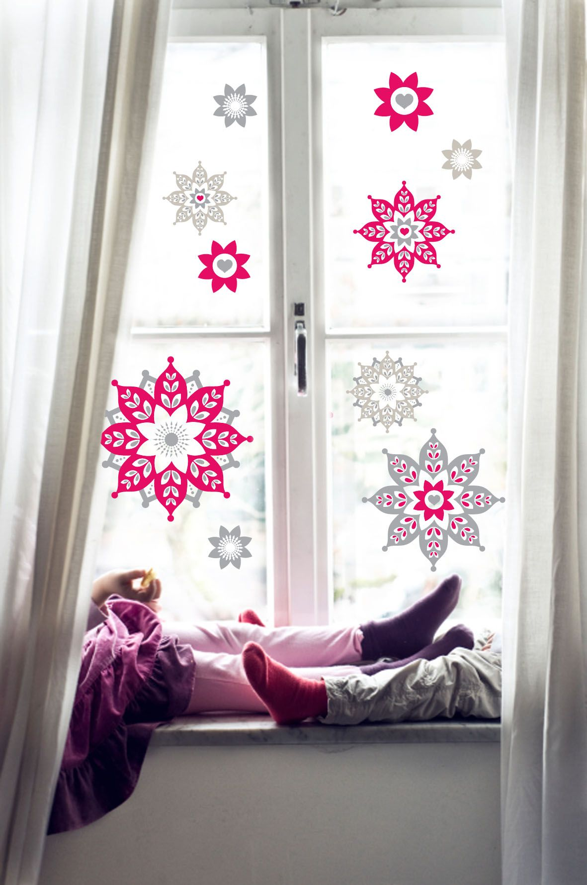 Window decor for christmas  folk flakes window decal for christmas by speckled house  christmas