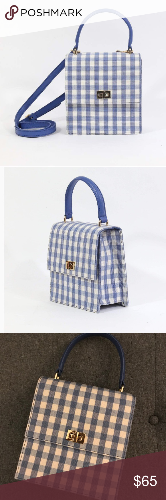bff213ae5bc0 Neely + Chloe No. 19 Mini Lady Bag in blue gingham Adorable blue and white