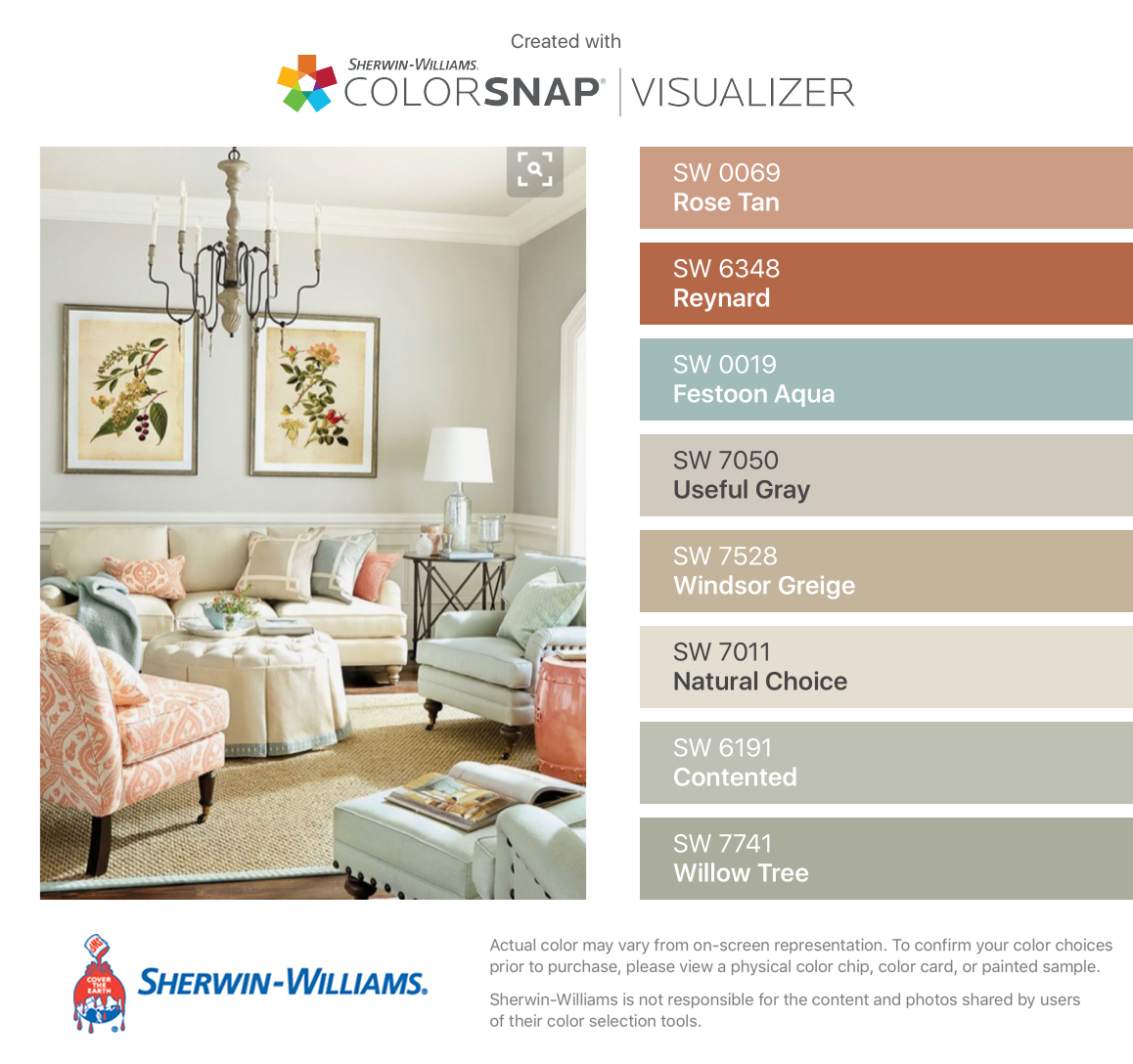 I Found These Colors With ColorSnapR Visualizer For IPhone By Sherwin Williams Rose Tan SW Reynard Festoon Aqua Useful Gray Windsor Greige