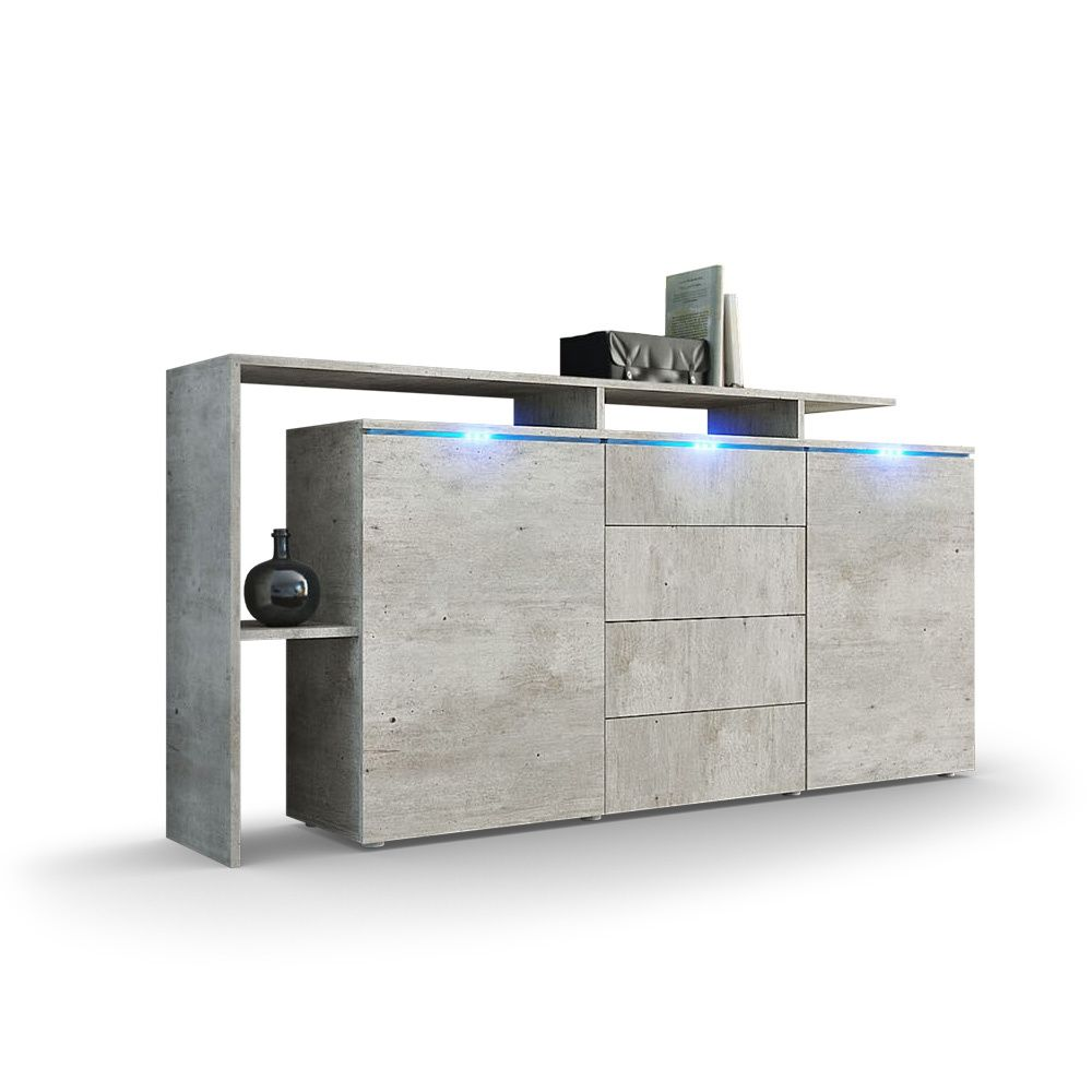 Sideboard lissabon in betonoptik mit modernem überbau und led beleuchtung weitere high