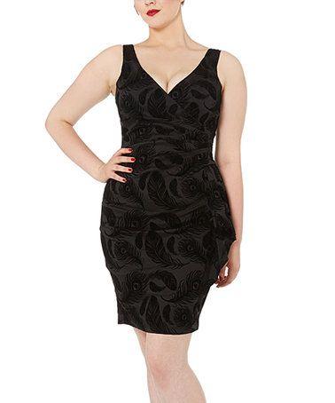 Loving this Black Print V-Neck Bodycon Dress on #zulily! #zulilyfinds
