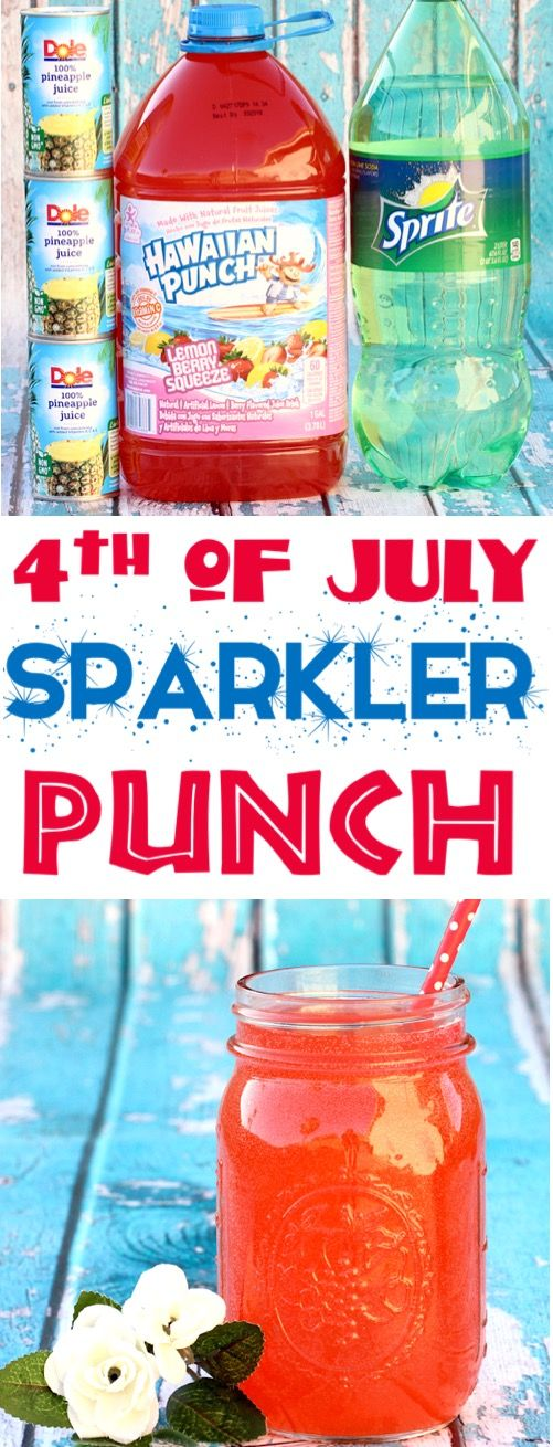 4th of July Party Ideas! This 3 Ingredient Patriotic Sparkler Punch Recipe for K…