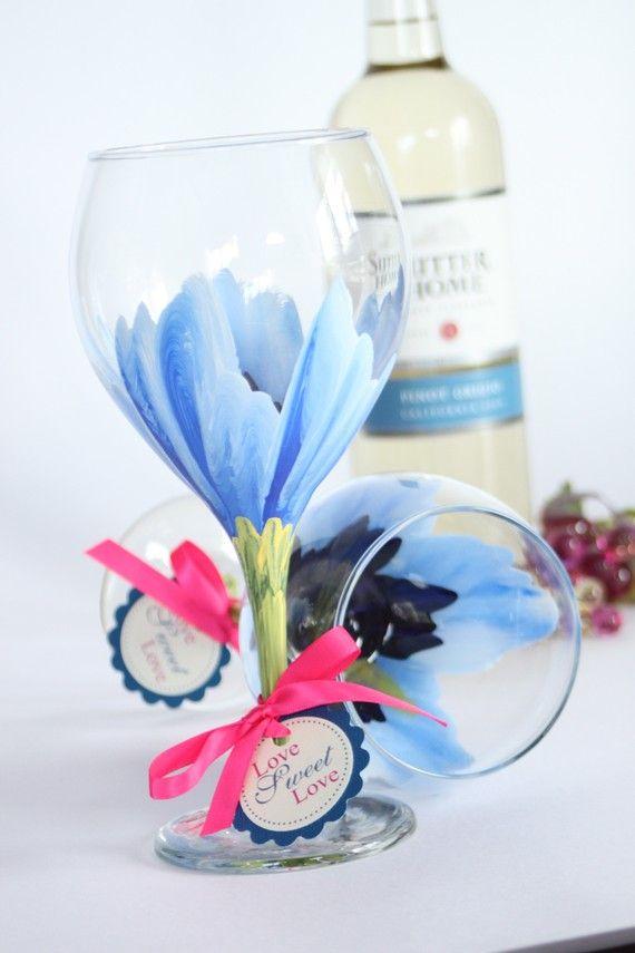 flower hand-painted wine glasses