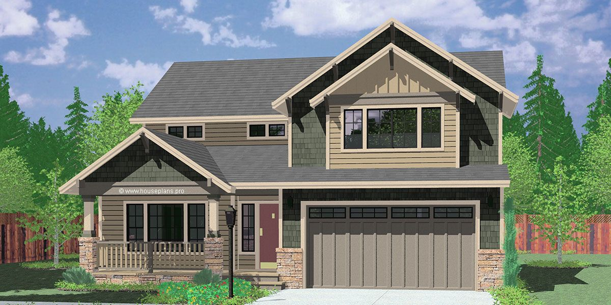 House Front Color Elevation View For 9950 Fb 4 Bedroom House Plans Craftsman House Plans 40 Craftsman House Plans Narrow House Plans Ranch Style House Plans