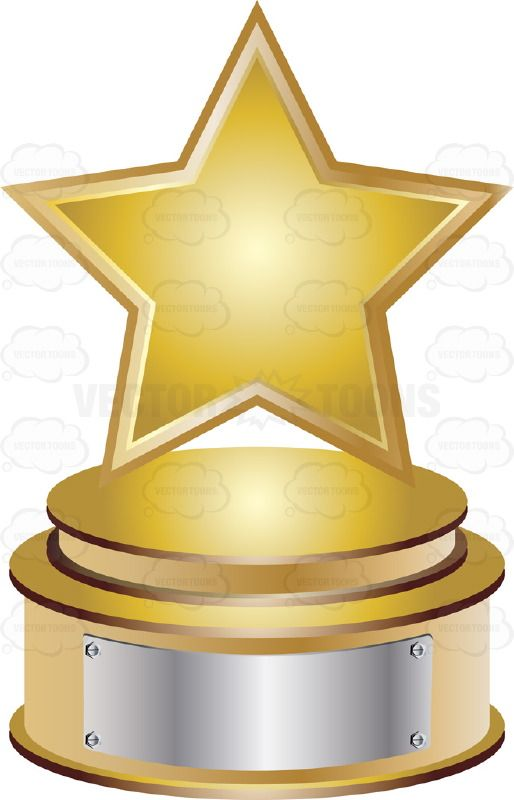 Gold Star Trophy On Gold Metal Base With Blank Silver Inscription