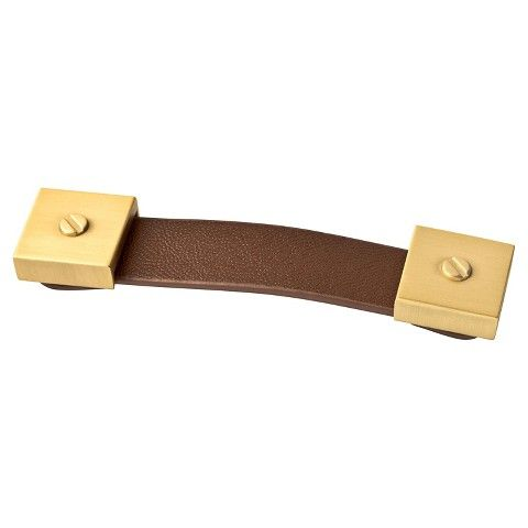 Leather Pull, Cabinet Hardware, Brushed Brass, Brown Leather, Drawer Pull,  2 Pack