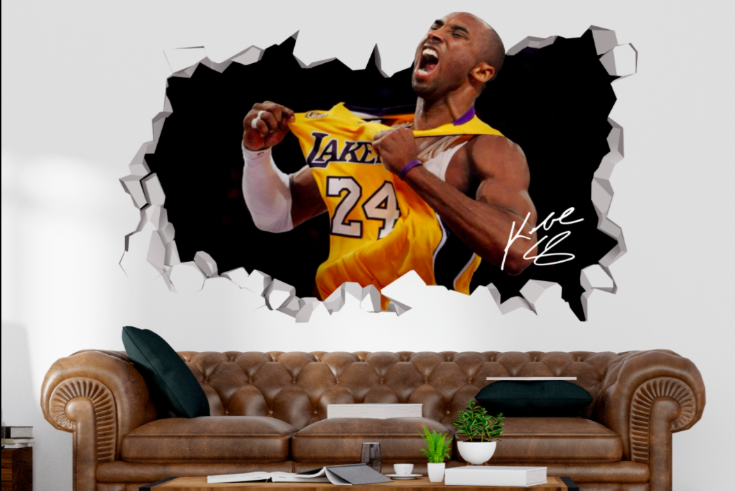 Lakers Kobe Bryant Champion 24 Custom Wall Decals 3d Wall Stickers Art M2171