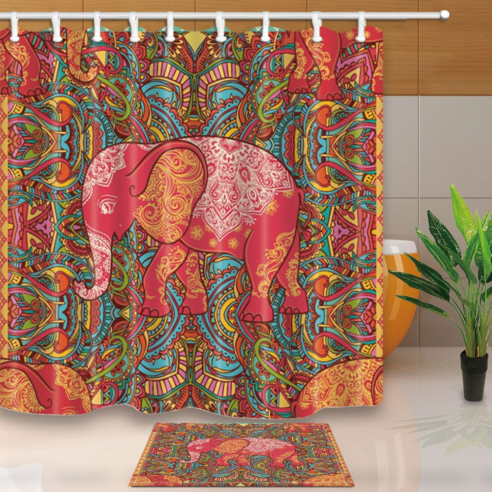 Colorful Elephant Mandala Shower Curtain Bedroom Waterproof Fabric