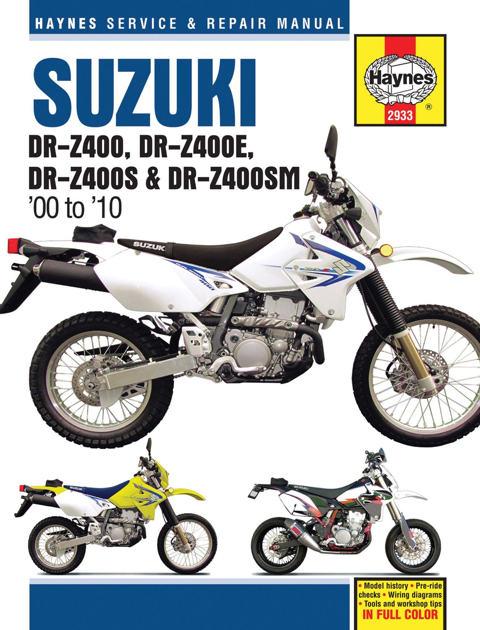 haynes m2933 repair manual for suzuki dr z400 dr z400e dr z400s rh pinterest co uk 2002 Suzuki RM85 Suzuki DRZ400