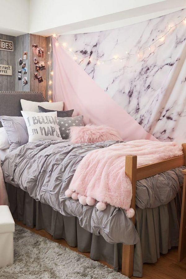 Pink Dorm Room: Tips Light Pink And Grey Dorm Room Ideas Selections