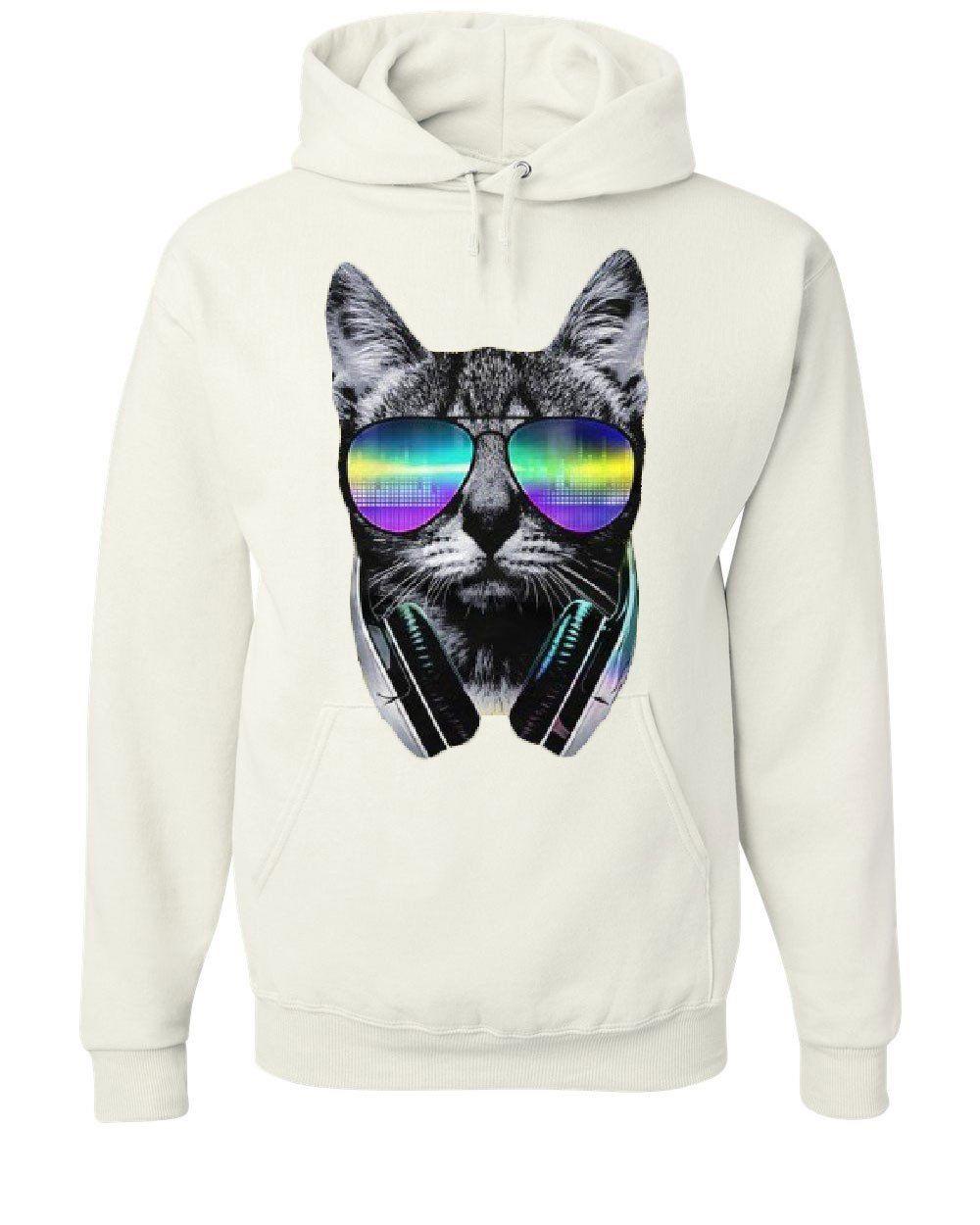 Funny DJ Cat Wideneck Sweatshirt Music Kitten Headphones and Glasses