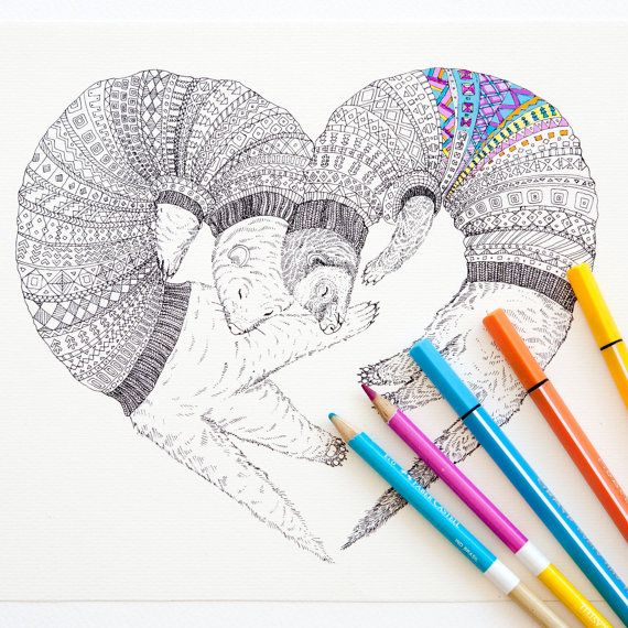 Coloring Page Instant Download Ferret Love Animal Adult By Ruta13