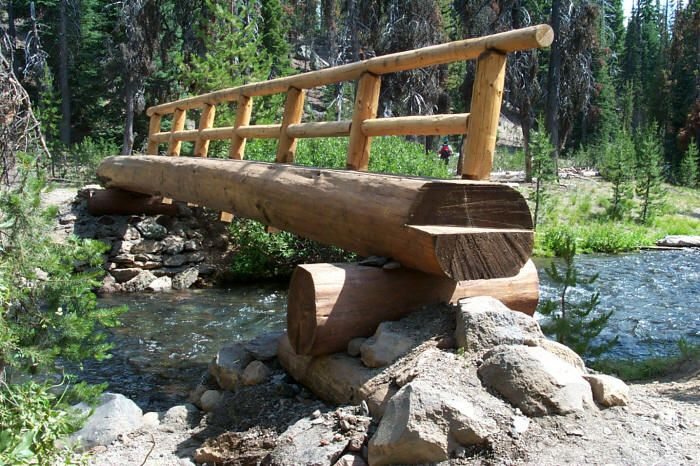 usfs trail crew builds a log bridge over fall creek at green lakes trail head garden valley. Black Bedroom Furniture Sets. Home Design Ideas