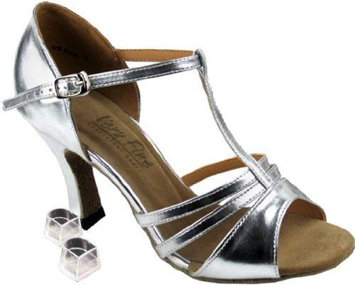 salsa party 6 and 7 UK sizes Leather mix wedding Women SILVER shoes dance