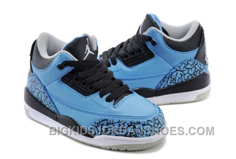 190f10fad94 Kids Jordan 3 Dark Powder Blue Black-Wolf Grey-White Hot