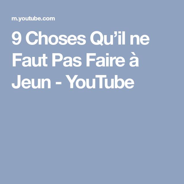 9 Choses Qu'il ne Faut Pas Faire à Jeun - YouTube