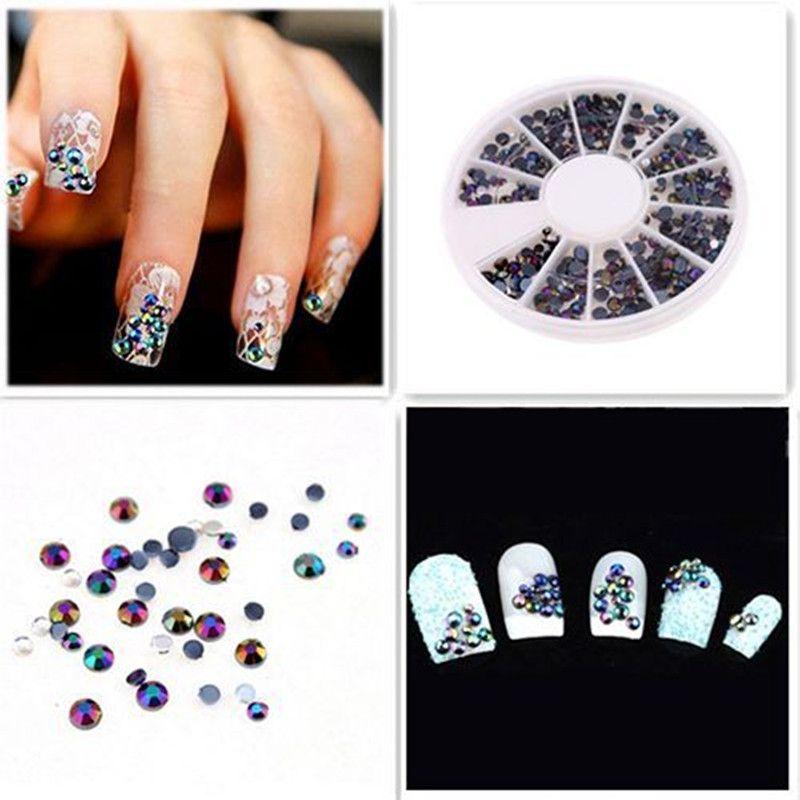 300 stücke Kristall Glitter Strass Gel Nail art Polnischen Schmuck Schwarz 3D Nail Design Perlen Formen Auf Nägel Alle Für eine maniküre
