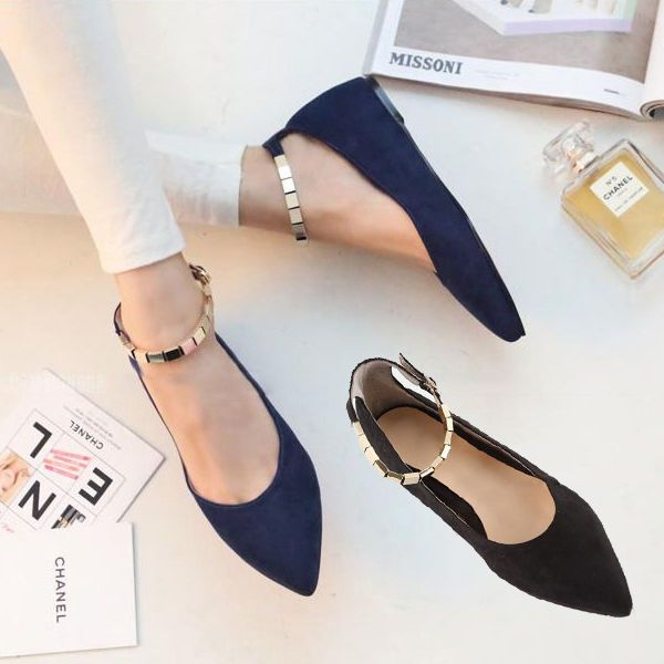 Sweety Women Ladies Pointy Toe Buckle Ankle Strap Ballet Flats Ballerina  shoes