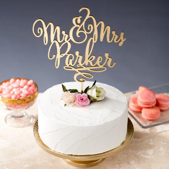 Gold Mr Mrs Cake Topper - Custom Cake Topper for Wedding ...