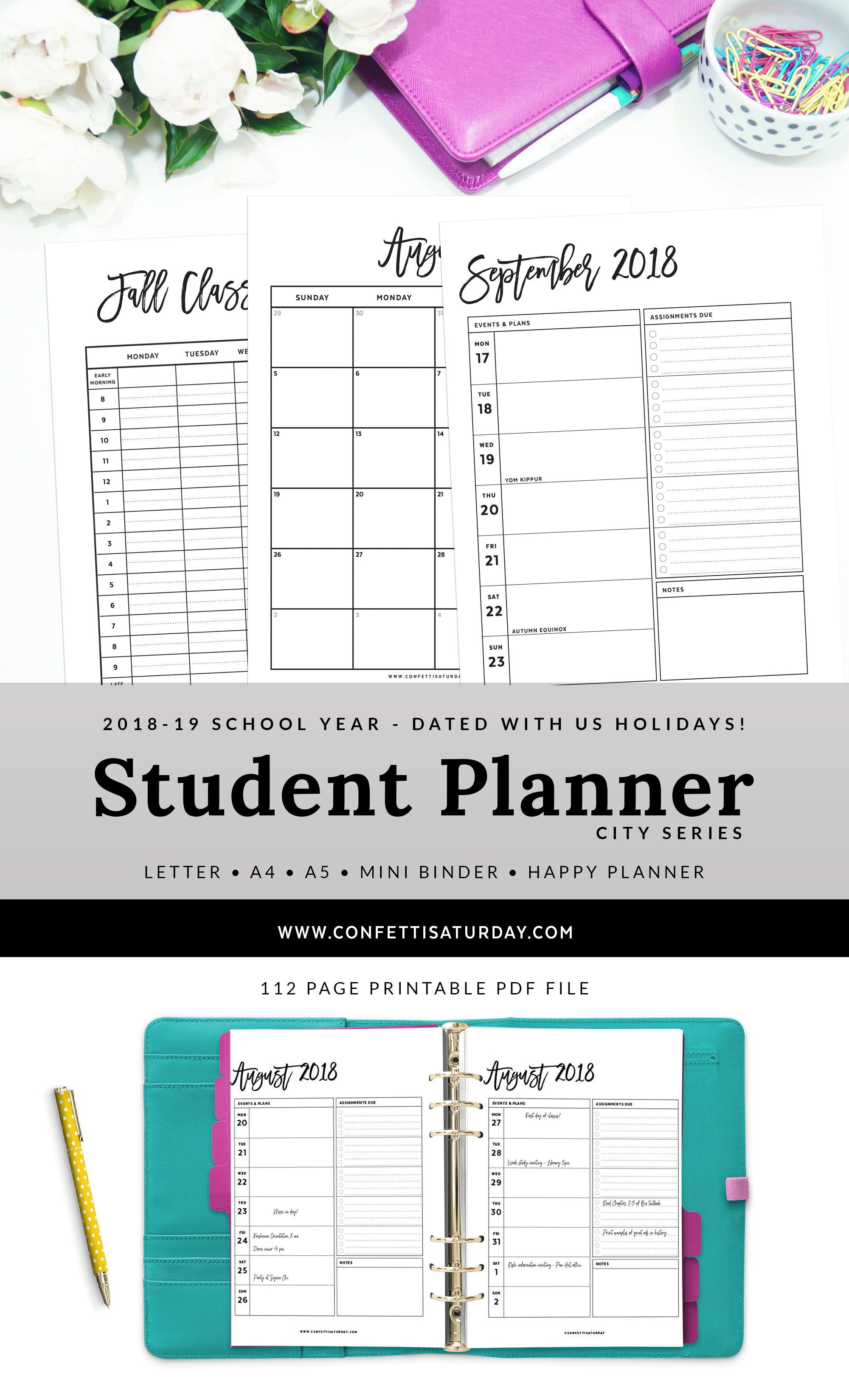Printable Student Planners For 2018 2019 School Year Great For